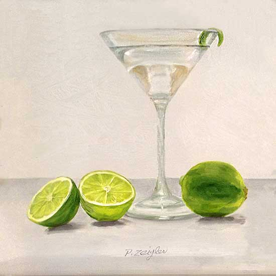 Patti Zeigler painting of a martini with lime