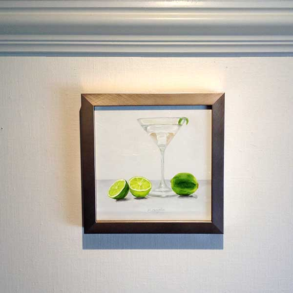 Patti Zeigler framed painting of a martini with lime