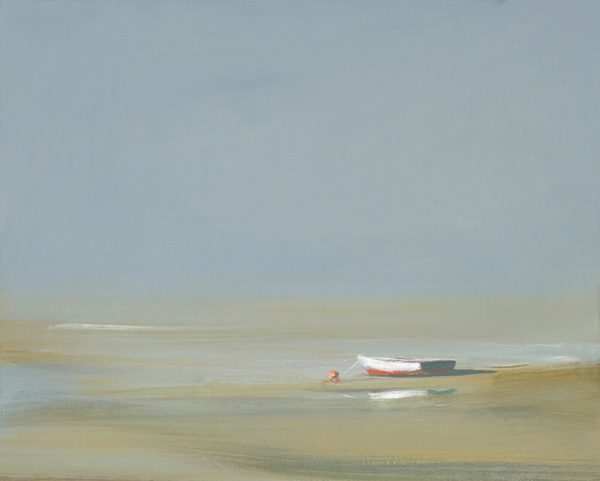 Anne Packard - Morning Light giclee print of boat on a beach at low tide