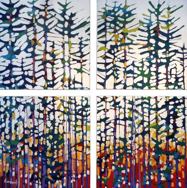 Holly Lombardo 4 paintings making 1 image of trees in forest