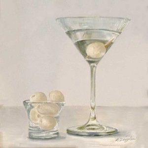 Patti Zeigler painting of martini with pearl onion