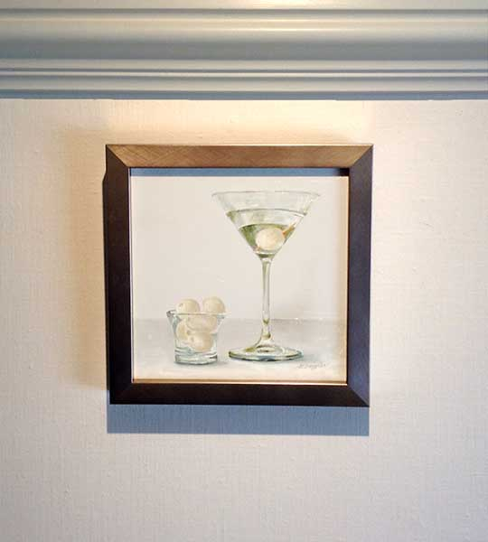 Patti Zeigler framed painting of martini with pearl onion