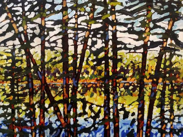 Holly Lombardo painting of lake seen through forest of trees