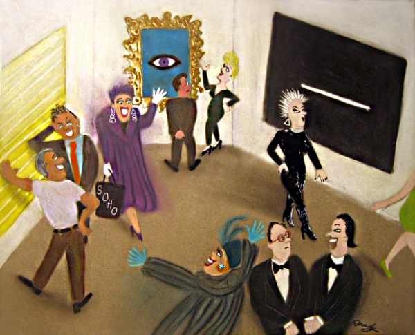 Randy Stevens painting of people at an art exhibit