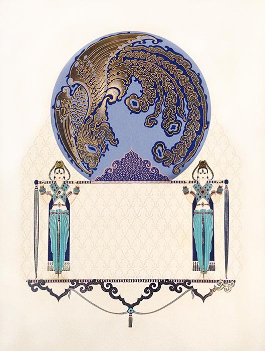 Erte - Blue Asia print of two female figures holding up cirle with gold design
