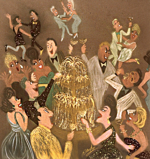 Randy Stevens painting of party with fountain of champagne and people having fun