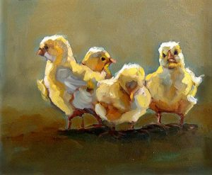 Betsy Schulthess painting of baby chicks