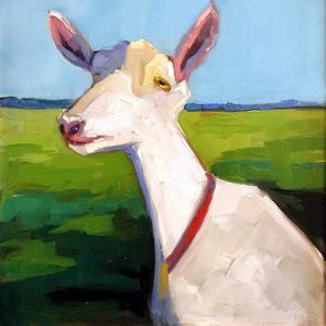 Betsy Schulthess painting of a goat in a field