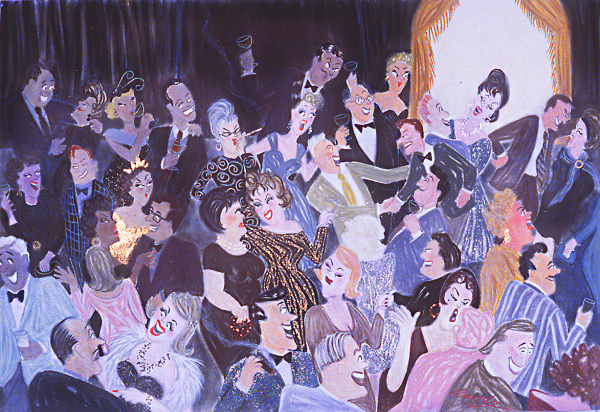 Randy Stevens painting of reunion party with lots of people and mirror
