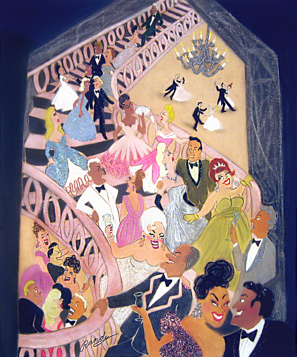 Randy Stevens painting of party-goers in fancy clothes on grand stairway
