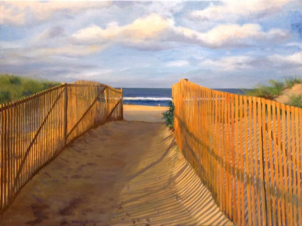 Hilary Baldwin painting of walk by fence to beach
