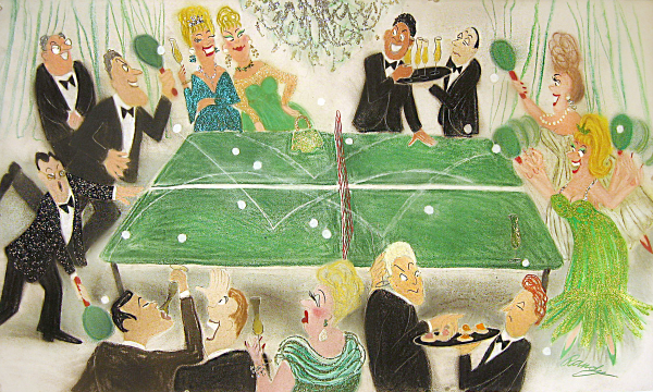 Randy Stevens painting of people playing ping pong
