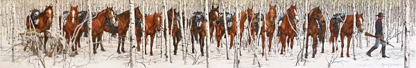 Bev Doolittle - Two Indian Horses print of horses with packs among birch trees following a soldier