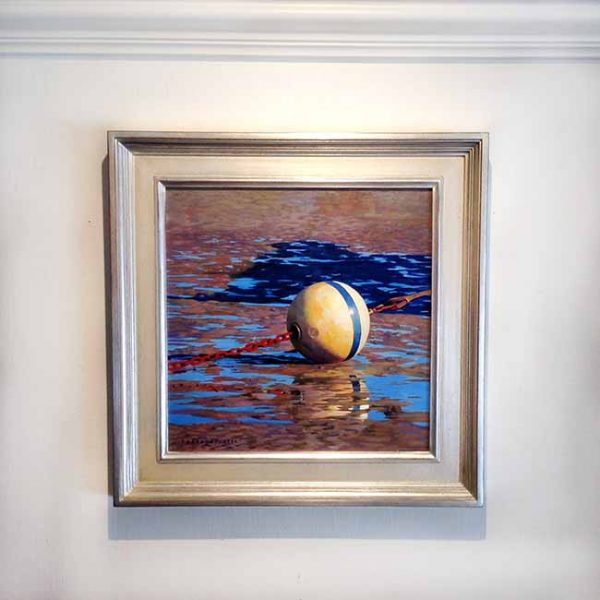 Framed Robert Bolster painting American Ball & Chain low tide