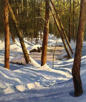 Barbara Levine painting of forest in winter