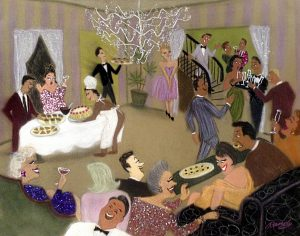 Randy Stevens painting of a fancy party with caterers