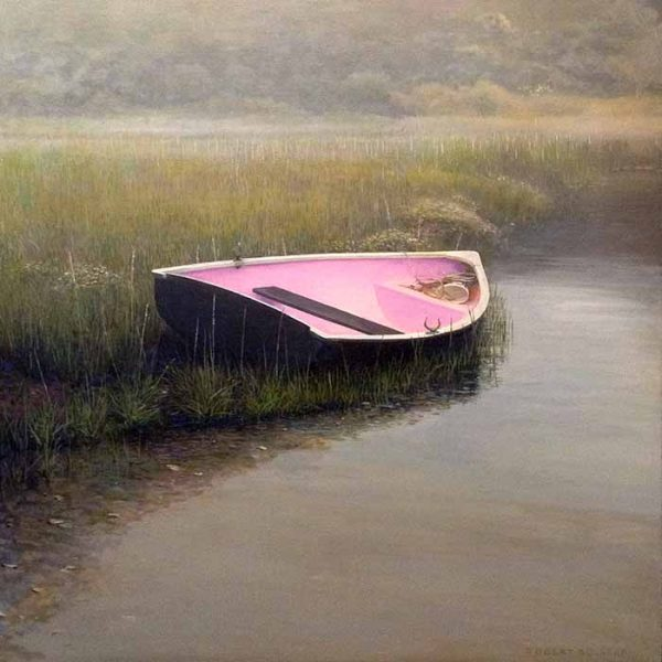 Robert Bolster painting Cozy Cove of pink boat on edge of marsh
