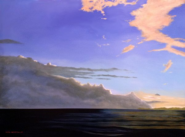 Ken Northup painting Daybreak clouds over ocean at dawn