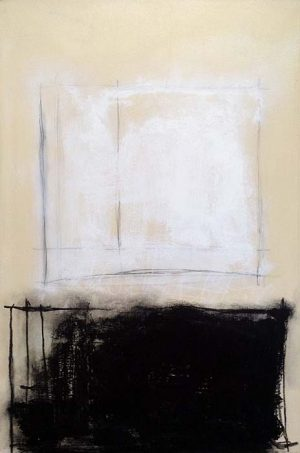 Anthony James painting Haiku XXX abstract black and white rectangles
