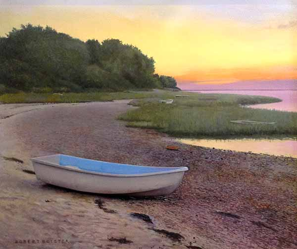 Robert Bolster painting Pebbled Cove boat on beach at sunset