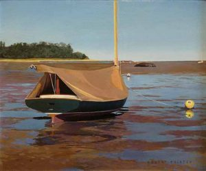 Robert Bolster painting Ship Shape boat on sand at low tide