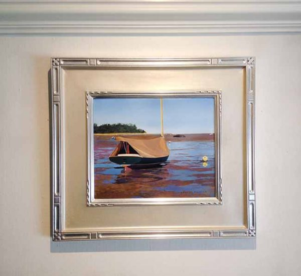 Framed Robert Bolster painting Ship Shape boat at low tide