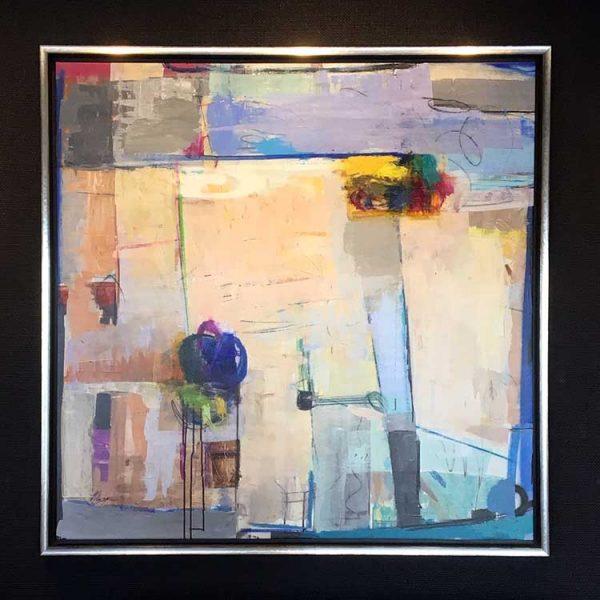 Helen Zarin framed abstract painting Vista III