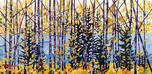 Holly Lombardo painting of lake seen through trees