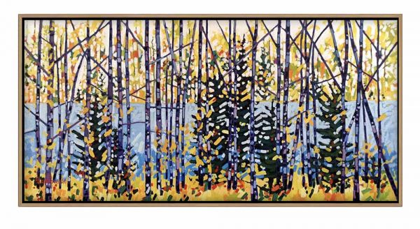 framed Holly Lombardo painting of trees an a path by a lake