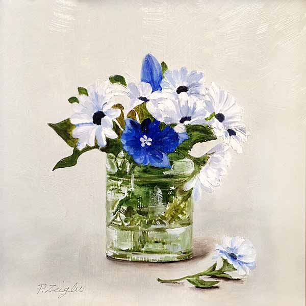 Patti Zeigler painting of blue and white flowers in a vase