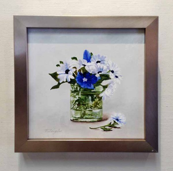 Patti Zeigler framed painting of blue and white flowers in a vase