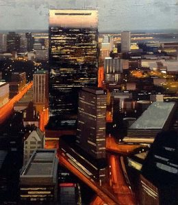 Kevin Kusiolek painting Boston Hancock building at night with traffic