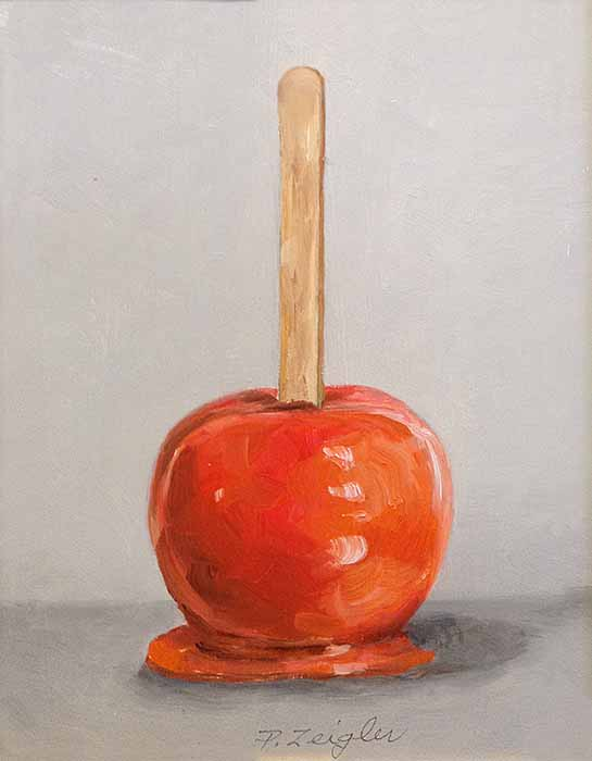 Patti Zeigler painting of a candied apple on a stick