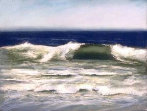 Dannielle Mick pastel of wave cresting at shore