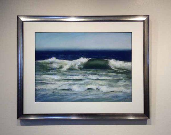 Dannielle Mick framed pastel Curl #26 ocean wave