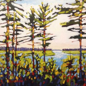 Holly Lombardo painting trees by a lake in summer