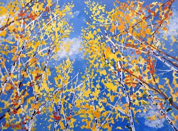 Holly Lombardo painting tops of trees and sky