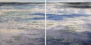 Lynne Adams paintings of surface of lake