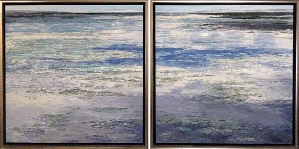 Framed Lynne Adams diptych paintings of surface of lake