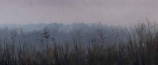 Lynne Adams painting of a foggy field