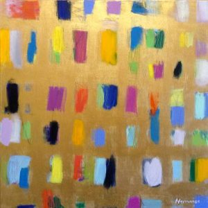 Ellen Hermanos painting of colorful shapes on gold