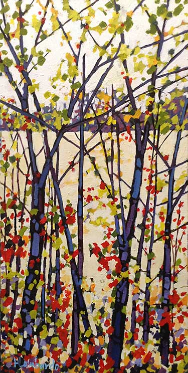 Holly Lombardo painting of trees surrounding a field