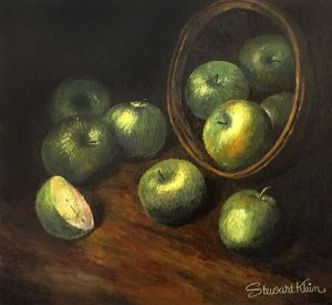 Stewart Klein painting of basket with apples