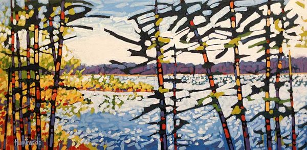 Holly Lombardo painting of trees and a lake