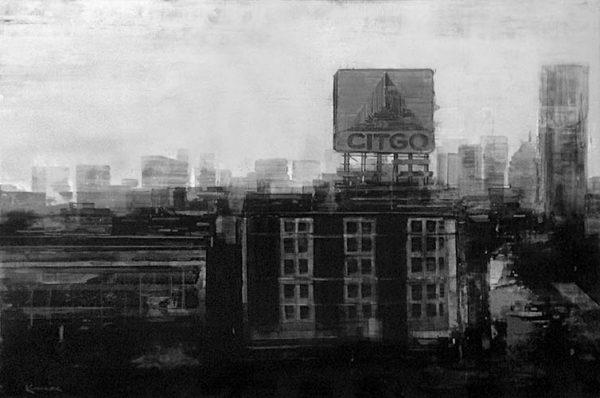 Kevin Kusiolek painting Boston citgo sign