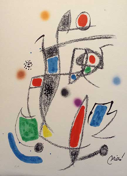 abstract stone signed lithograph by Joan Miró simple shapes and lines