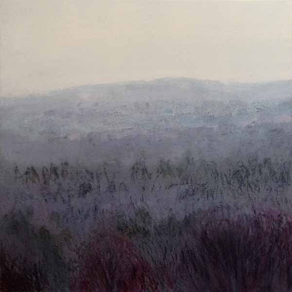 Lynne Adams painting of foggy field