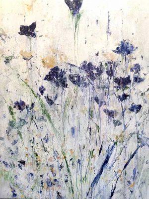 Jodi Maas painting of blue wildflowers
