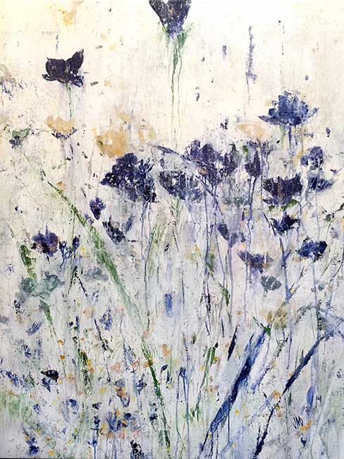 Jodi Maas painting of blue wildflowers