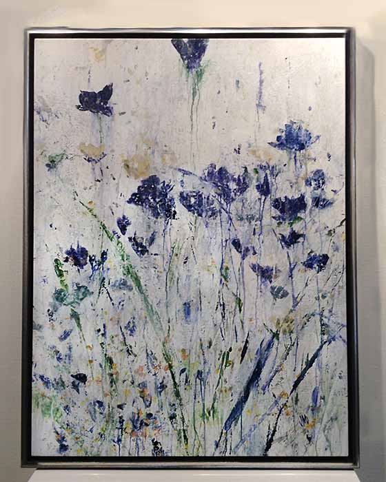 Framed Jodi Maas painting of blue wildflowers